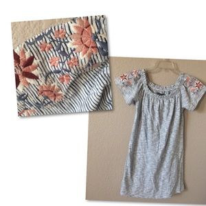 A&F Peasant Embroidered Tunic T-Shirt Off-Shoulder